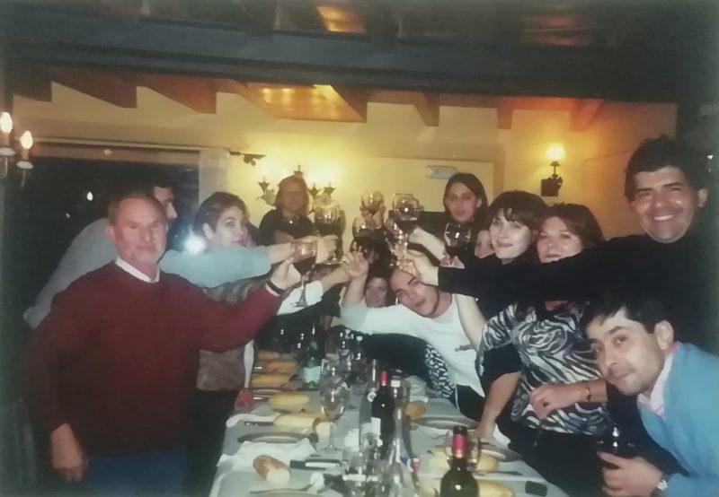 De cena con el fiel equipo de la Moncloa