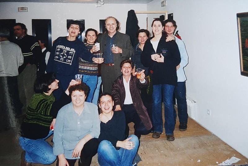 El grupo de teatro Vagalume con Amancio Prada.
