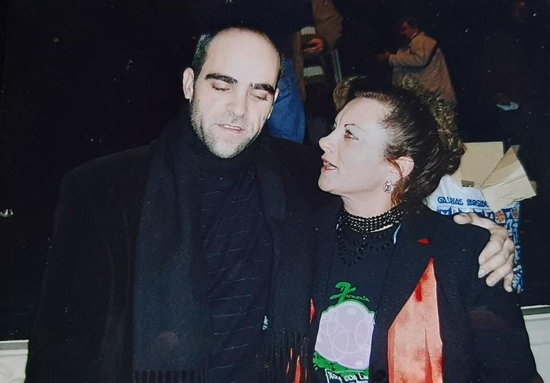 María José Montero Núñez con el actor gallego Luis Tosar.