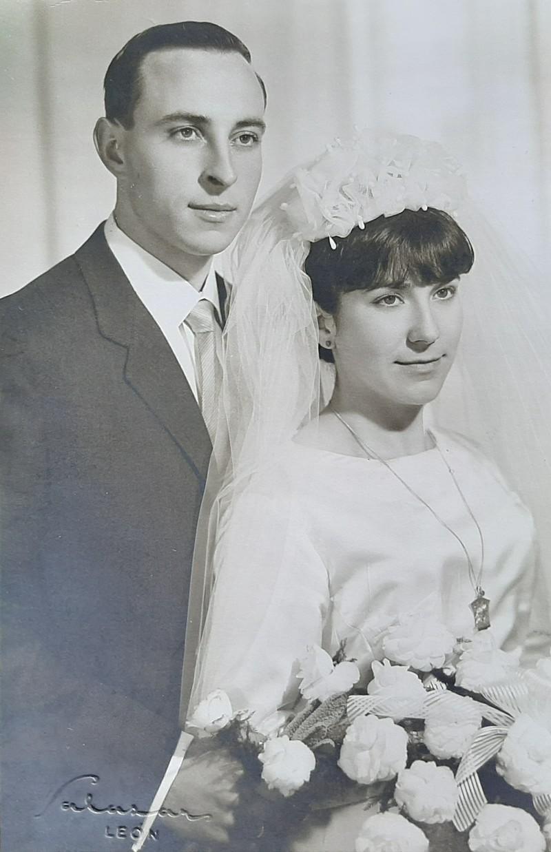 Violeta Arias y José Franganillo el día de su boda.